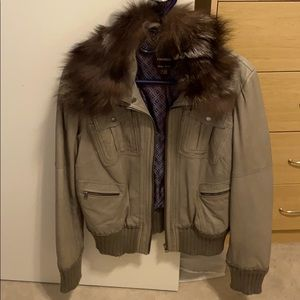 Danier Grey Leather Bomber Fox Fur Collar